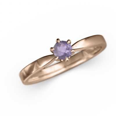 【再入荷】 アメシスト(紫水晶) 指輪 一粒 2月の誕生石 18金ピンクゴールド, 大刀洗町 bf5d7741