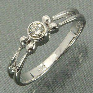 天然ダイヤモンド 指輪 1粒 石 4月誕生石 Pt900 skybell