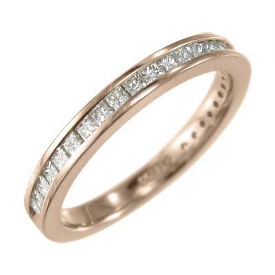 18金ピンクゴールド ハーフ エタニティリング 天然ダイヤモンド 4月誕生石 プリンセスカット|skybell