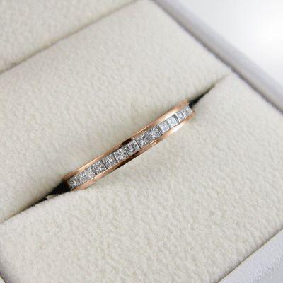 18金ピンクゴールド ハーフ エタニティリング 天然ダイヤモンド 4月誕生石 プリンセスカット|skybell|05