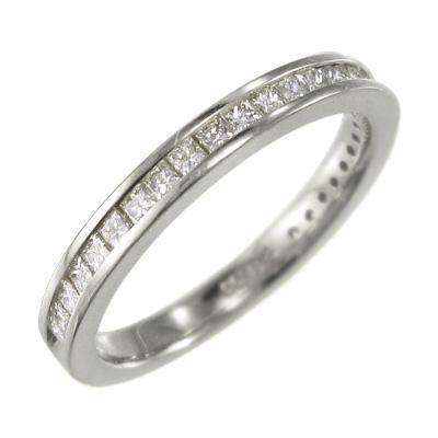 ハーフ エタニティリング ダイヤモンド ホワイトゴールドk18 4月誕生石 プリンセスカット|skybell