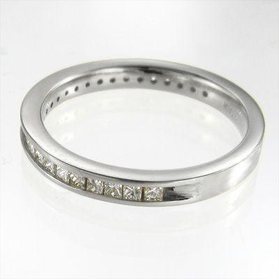 ハーフ エタニティリング ダイヤモンド ホワイトゴールドk18 4月誕生石 プリンセスカット|skybell|04
