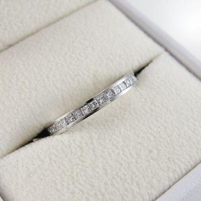 ハーフ エタニティリング ダイヤモンド ホワイトゴールドk18 4月誕生石 プリンセスカット|skybell|05