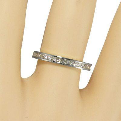ハーフ エタニティ 指輪 ダイアモンド 4月誕生石 プラチナ900 プリンセスカット|skybell|02