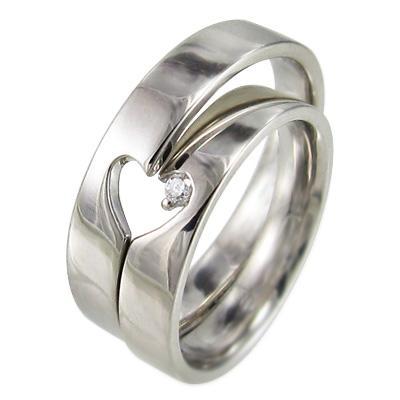 【大注目】 ペア 指輪 平打ち リング 一粒 ハート ダイヤモンド 18kホワイトゴールド 2つでハートが現れます, 酒どころみやび 35f827b9