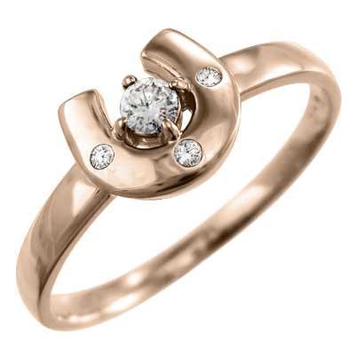 k18ピンクゴールド 指輪 馬蹄 ジュエリー 4月誕生石 天然ダイヤ|skybell