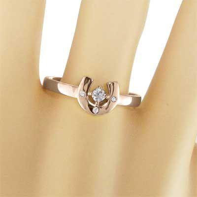 k18ピンクゴールド 指輪 馬蹄 ジュエリー 4月誕生石 天然ダイヤ|skybell|02