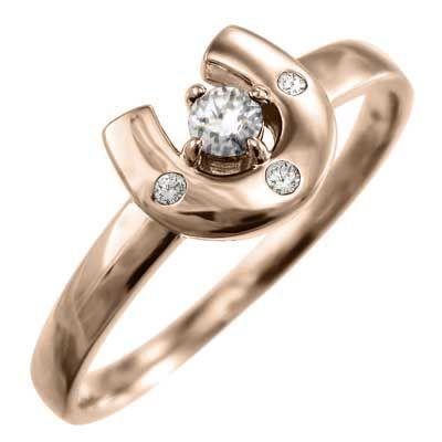 k18ピンクゴールド 指輪 馬蹄 ジュエリー 4月誕生石 天然ダイヤ|skybell|03