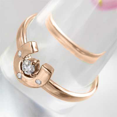 k18ピンクゴールド 指輪 馬蹄 ジュエリー 4月誕生石 天然ダイヤ|skybell|04