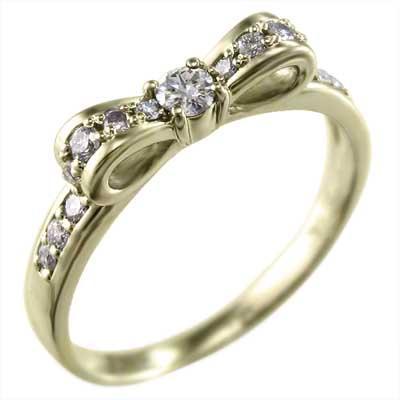 【1着でも送料無料】 リング ダイヤモンド リボン 10kイエローゴールド 4月誕生石, ゴジョウメマチ 040d405e