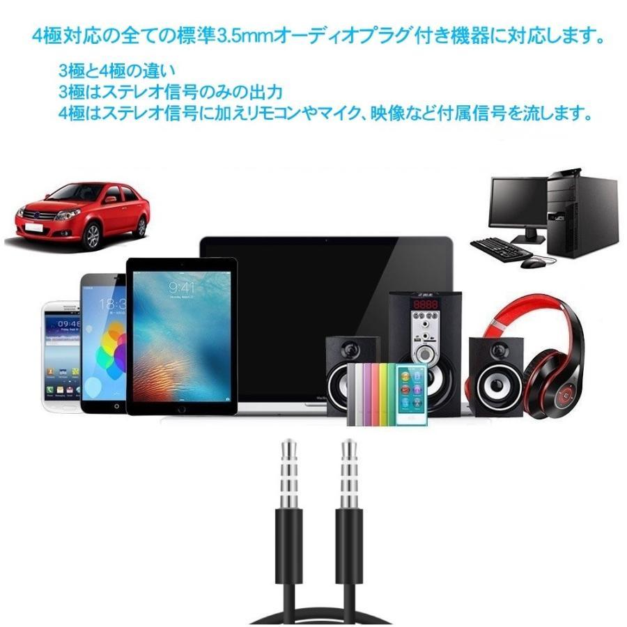 4極 ステレオミニプラグ オーディオケーブル 標準3.5mm AUX接続 延長 高音質再生  CTIA規格 iPhone適合 (オス/オス )ブラック skybird 04