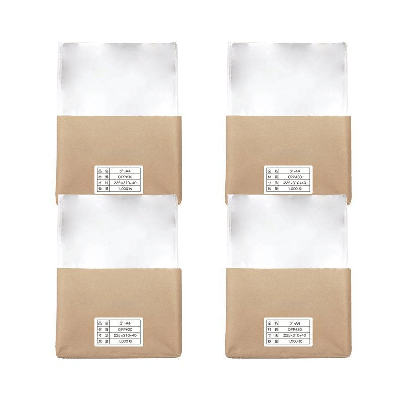 (4,000枚)OPP袋 A4用テープ付き 30μ厚 透明封筒 225x310+40mm 国産