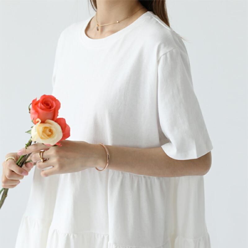 レディースティアードチュニック トップス カットソー シャツ 半袖 春 夏 無地  体型カバー  綿100% 大きいサイズ ゆったり  シンプル 涼しい 韓国 フレア sljapan 13