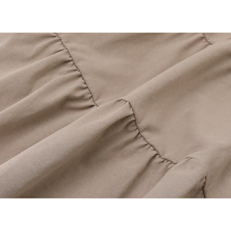レディースティアードチュニック トップス カットソー シャツ 半袖 春 夏 無地  体型カバー  綿100% 大きいサイズ ゆったり  シンプル 涼しい 韓国 フレア sljapan 16
