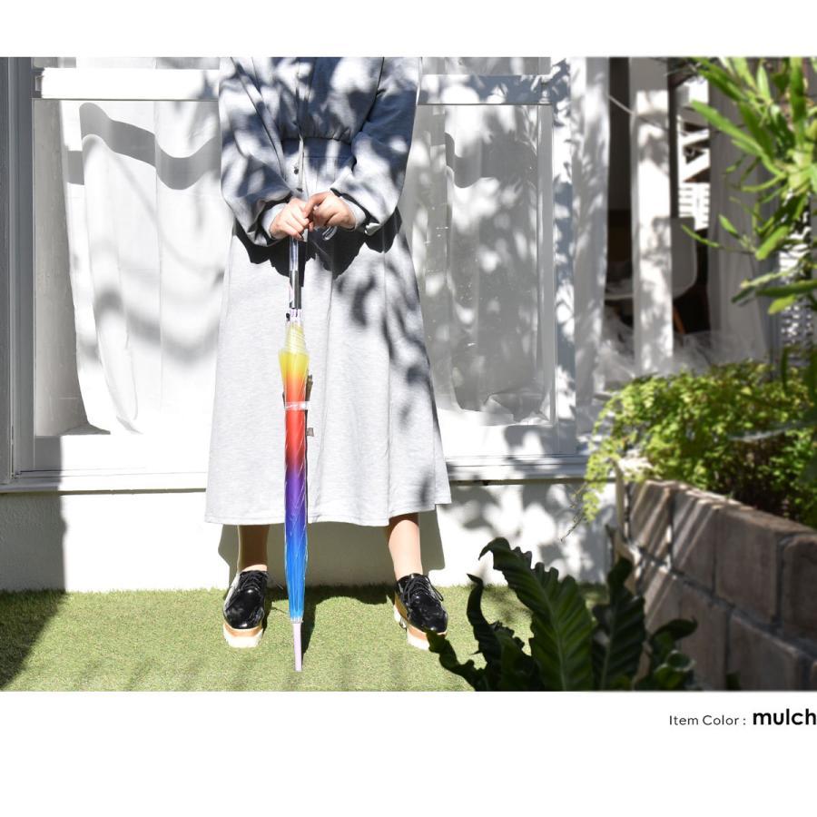ビニール傘 ジャンプ おしゃれ 大きい かわいい 女子 クリア 透明  レインボー レディース ビニ傘 長傘 60cm グラスファイバー 軽量 中学生 高校生 新学期 梅雨 slowfine 05