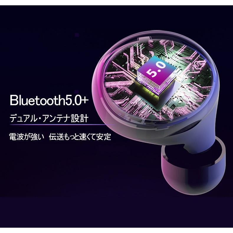 ワイヤレスイヤホン Bluetooth 5.0 イヤホン IPX8完全防水 容量充電収納ケース付 Hi-Fi音質 マイク内蔵 ワンタッチ操作 自動ペアリング 片耳両耳とも対応|slub-shop|05
