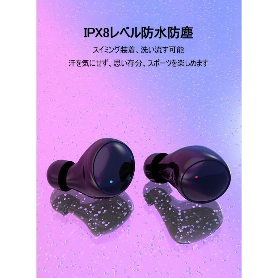 ワイヤレスイヤホン Bluetooth 5.0 イヤホン IPX8完全防水 容量充電収納ケース付 Hi-Fi音質 マイク内蔵 ワンタッチ操作 自動ペアリング 片耳両耳とも対応|slub-shop|09