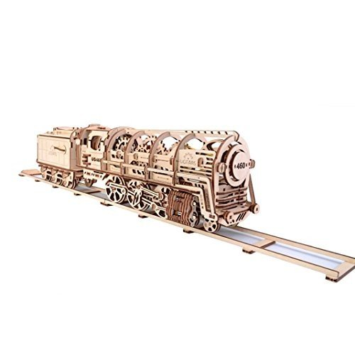 460 Steam Locomotive With Tender Mechanical 3d Puzzle by UGEARS