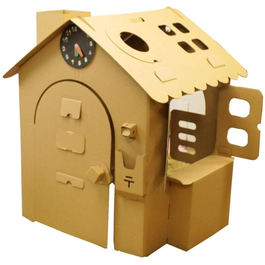 HOWAY オンリーハウスシリーズ (オンリーハウス茶) ダンボール製 針が回せる時計玩具付【意匠登録出願中】