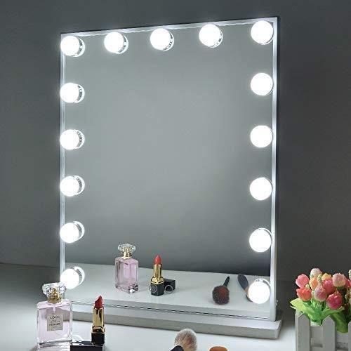 Wonstart 女優ミラー 女優ミラー led化粧鏡 ハリウッドミラー 15個LED電球付き 寒色・暖色2色調光 明るさ調整可能 スタンド付