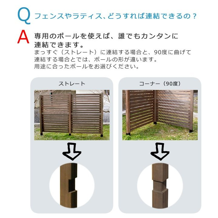 ウッドフェンス用ポール950(ロータイプ)単品販売 smilebell 03