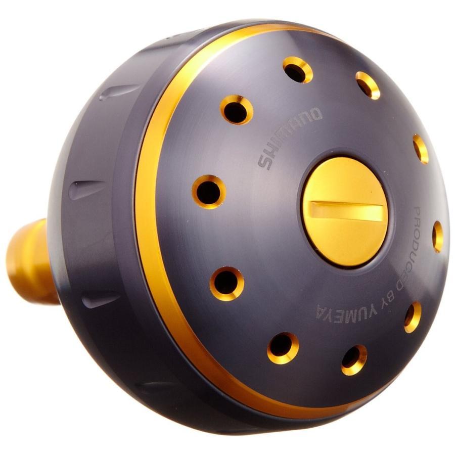 シマノ(SHIMANO) リール 夢屋 アルミラウンド型 パワーハンドルノブ ブラック/ゴールド Lノブ TypeB用 26293 パーツ