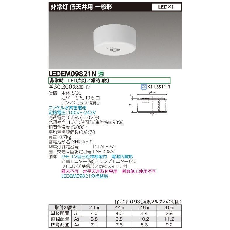 (4台セット・送料無料)東芝ライテック 直付 低天井用LED非常灯専用形 LEDEM09821N (リモコン別売り)
