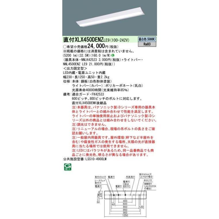 (10台セット)パナソニック 施設照明 LED ベースライト 器具本体+ライトバー XLX450DENZLE9