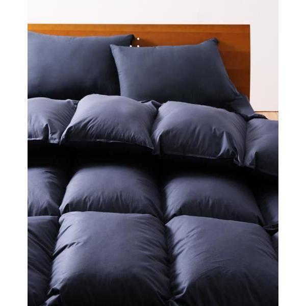 9色から選べる!羽毛布団 グースタイプ 8点セット  プレミアム敷布団極厚ボリュームタイプ シングル ミッドナイトブルー