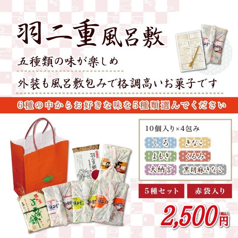羽二重風呂敷 選べる5種セット 羽二重餅 赤袋入り 和菓子 福井 銘菓 ギフト|smileshoutengai|02
