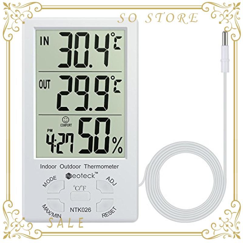 Neoteck 温湿度計 精度 待望 1 センサー LCDデジタル 室内外温度 家庭用 タイムセール 温湿度測定 熱中症予防 室内湿度 置き掛け両用