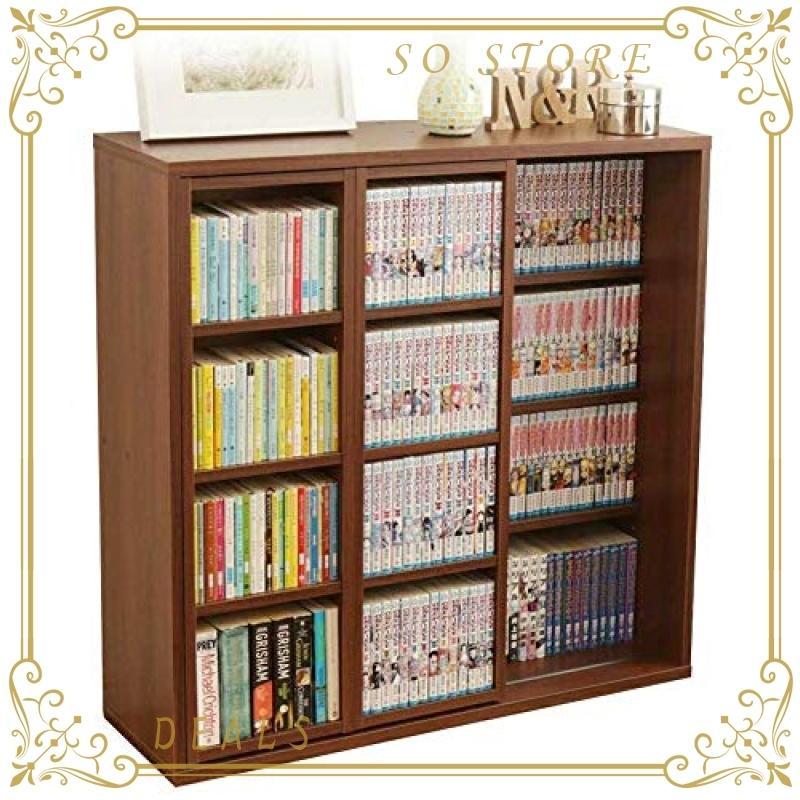 アイリスオーヤマ 本棚 コミック ラック 大容量 スライド棚 ダブル 幅約90奥行約29.2高さ約92.2cm ブラウン CSD-9090 so-store