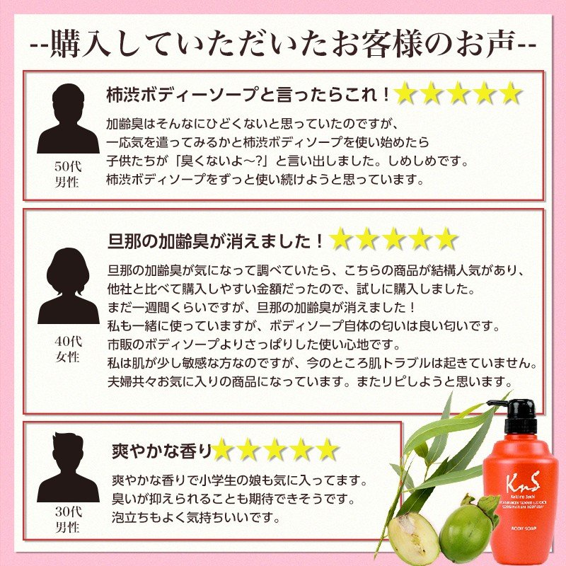 ボディソープ 体臭 加齢臭 メンズ 対策 予防 薬用 デオドラント 男 柿のさち KnS 薬用 柿渋 ボディ 450mL ボトル|soapmax|18