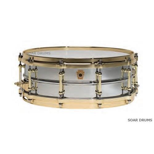 "Ludwig ラディック スネアドラム 5""x14"" Brass ブラス ·ブラスチューブラグ仕様 クローム仕上げ ブラスシェル ダイキャストフープ LB400BBTM"