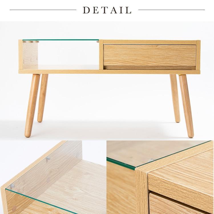 ローテーブル 引き出し 木製 収納 おしゃれ センターテーブル リビングテーブル ガラステーブル GLT-800|sofort|18