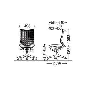 オフィスチェア オカムラ バロン ハイバック CP45BR CP45BW固定肘 ポリッシュフレーム 座:クッション soho-honpo 04