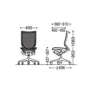 オフィスチェア オカムラ バロン ハイバック CP45CR CP45CW固定肘 シルバーフレーム 座:メッシュ|soho-honpo|04