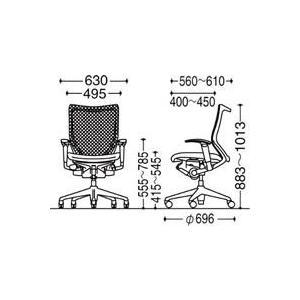 オフィスチェア オカムラ バロン ローバック CP83DR CP83DW可動肘 シルバーフレーム 座:クッション|soho-honpo|03