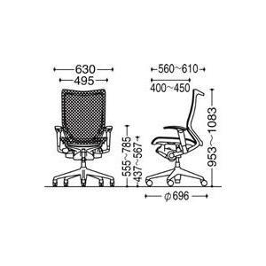 オフィスチェア オカムラ バロン ハイバック CP85AR CP85AW可動肘 ポリッシュフレーム 座:メッシュ|soho-honpo|04