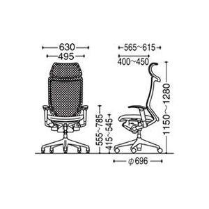 オフィスチェア オカムラ バロン EXハイバック固定ヘッドレストタイプ CP87DR CP87DW可動肘 シルバーフレーム 座:クッション soho-honpo 04