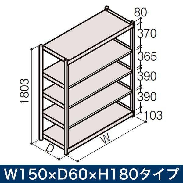 物流家具 イトーキ ボルトレス軽中量ラック RL型(単体) 開放型(150kg仕様) W150×D60×H180タイプ 棚板5段 自社便 開梱・設置付