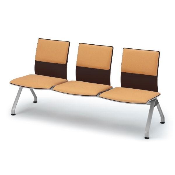 ロビー・ラウンジ家具 イトーキ ウェイティング PA-5/3連背付ベンチ 背座クッション付/シェル49:ゼブラウッド 自社便/開梱・設置付