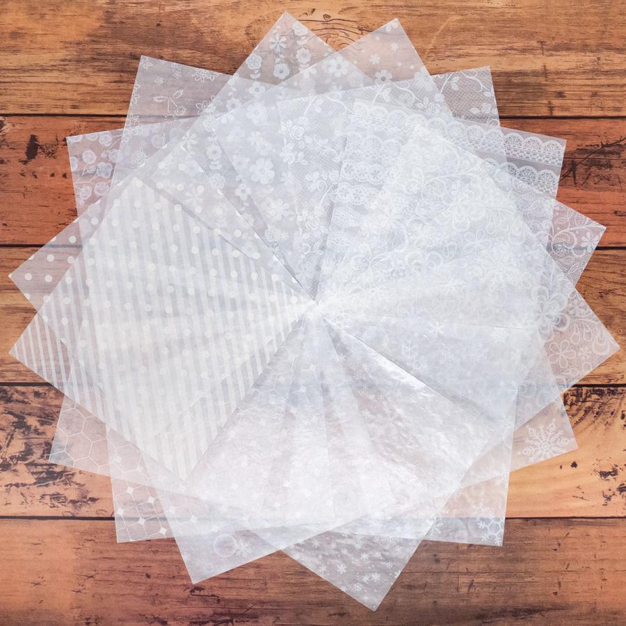 カラーグラシン ホワイト柄 パターン 折り紙サイズ 半透明ペーパークラフト紙|sokana