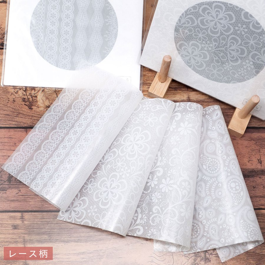 カラーグラシン ホワイト柄 パターン 折り紙サイズ 半透明ペーパークラフト紙|sokana|03