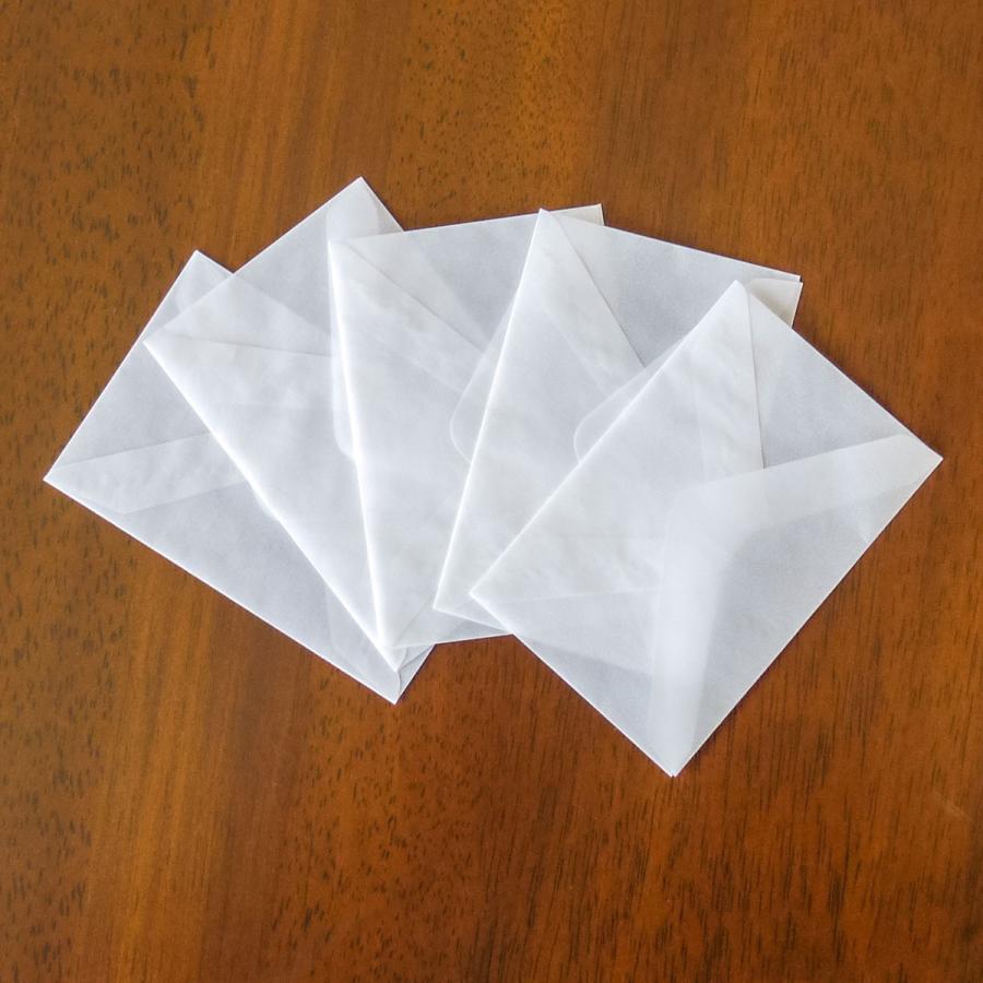 国産グラシン紙封筒【5種セット〈各5枚25枚入〉】白無地 透けるポチ袋 A5 ハガキサイズ 洋形2号 名刺サイズ バッグ 平袋|sokana|11