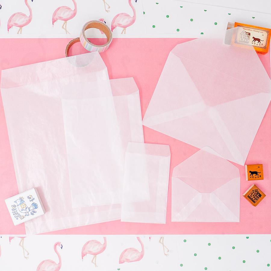 国産グラシン紙封筒【5種セット〈各5枚25枚入〉】白無地 透けるポチ袋 A5 ハガキサイズ 洋形2号 名刺サイズ バッグ 平袋|sokana|13
