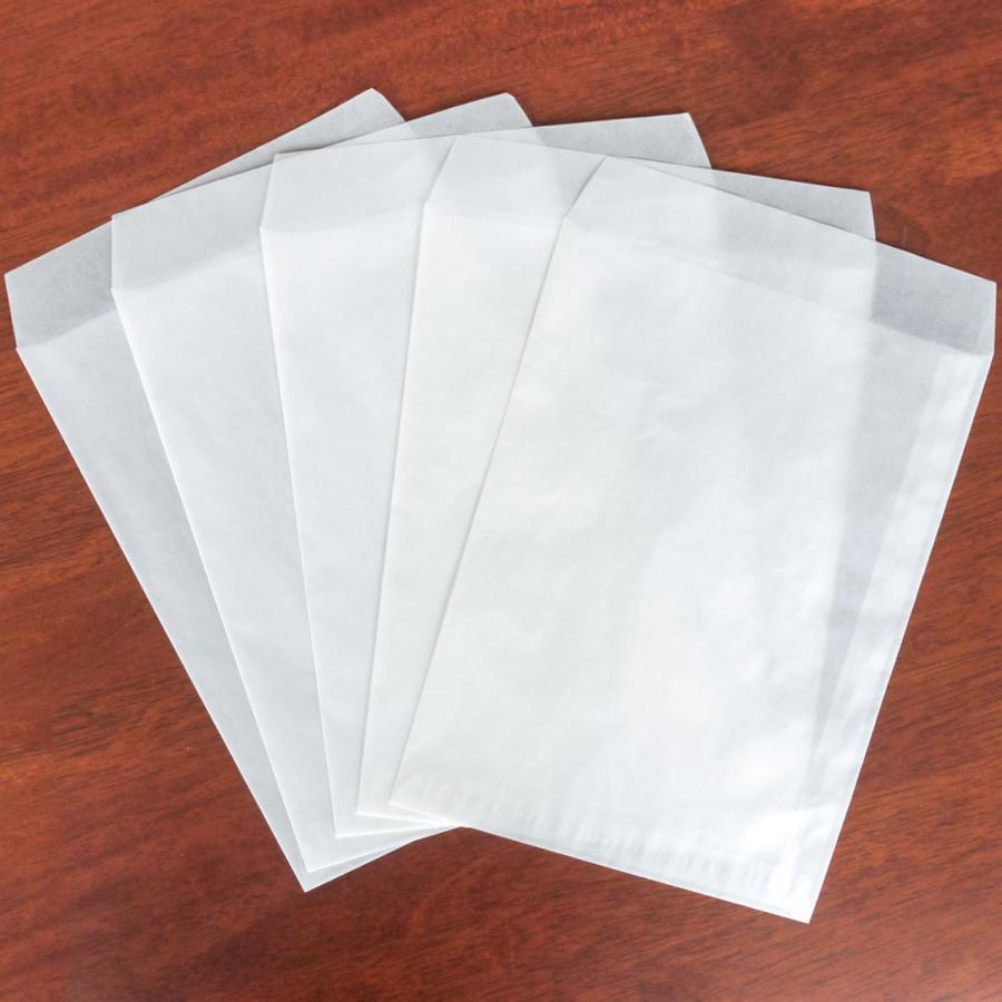 国産グラシン紙封筒【5種セット〈各5枚25枚入〉】白無地 透けるポチ袋 A5 ハガキサイズ 洋形2号 名刺サイズ バッグ 平袋|sokana|07