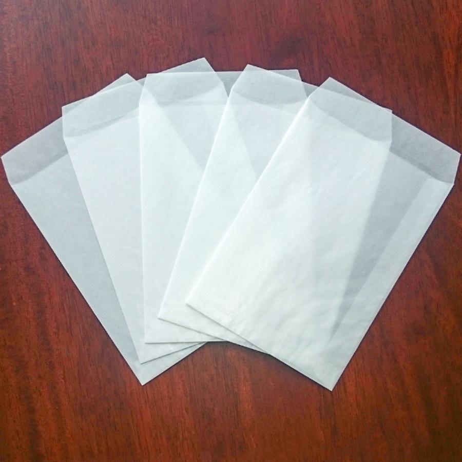 国産グラシン紙封筒【5種セット〈各5枚25枚入〉】白無地 透けるポチ袋 A5 ハガキサイズ 洋形2号 名刺サイズ バッグ 平袋|sokana|08