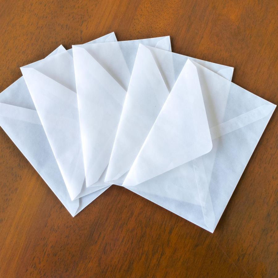 国産グラシン紙封筒【5種セット〈各5枚25枚入〉】白無地 透けるポチ袋 A5 ハガキサイズ 洋形2号 名刺サイズ バッグ 平袋|sokana|10