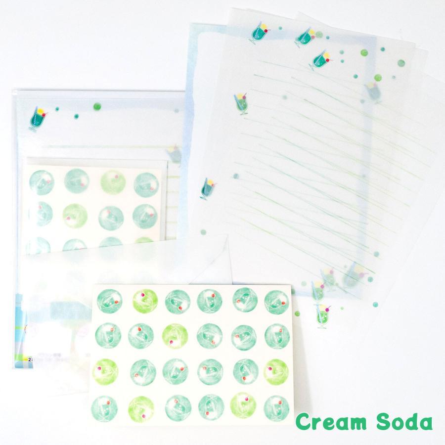 限定生産 グラシンレターセット 喫茶店 クリームソーダ コーヒー サンドイッチ グラシン封筒 便箋 カード|sokana|02
